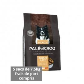 5 sacs de Paleocroq adulte 11-25 kg poulet paquet de 7,5 kg- Frais de port compris